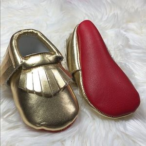 Other - Gold with red sole soft baby toddler moccasins
